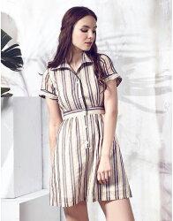 【JL JOCELIN】滾邊印花洋裝-白棕條紋