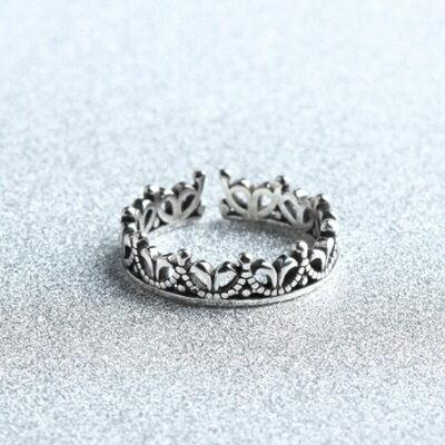 ~925純銀戒指皇冠開口戒~ 高貴宮廷風可調節情人節生日 女飾品73gp2~ ~~米蘭 ~