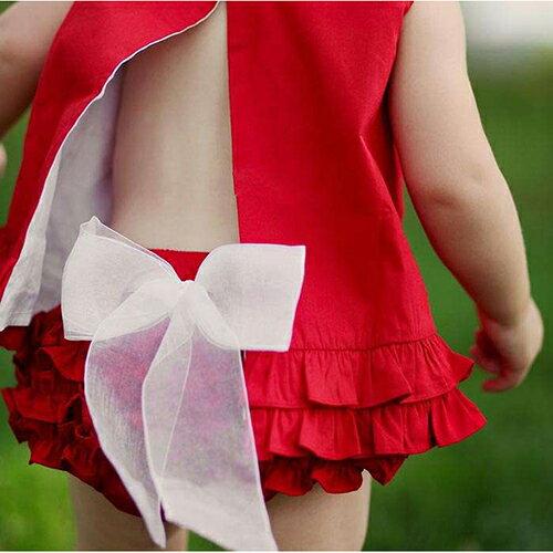 【hella 媽咪寶貝】美國 RuffleButts 小女童荷葉屁屁褲/包屁褲 紅/白蝴蝶結 (RBRBW024)