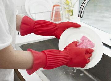 天然橡膠 家事手套 S M L 家務手套 橡膠手套 洗碗手套 環保 防脫落 女性