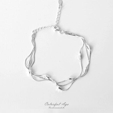 925純銀手鍊 多層次小橢圓 手環 不同角度絢麗閃亮 三條細鍊 柒彩年代~NPA19~