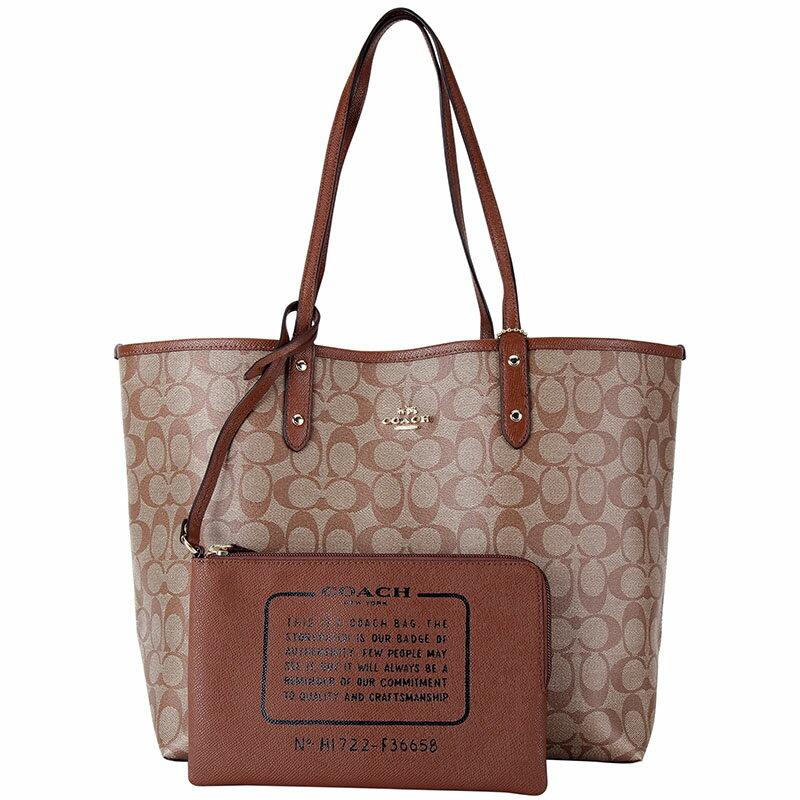 【05/17~05/25,贈送LONGCHAMP化妝包1個】COACH  F36658 女士女包PVC配皮單肩手提包托特包TOTE大號