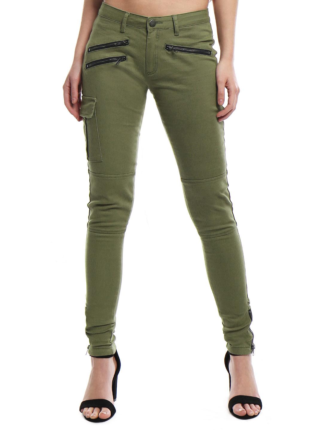 ef4a78300b33a Women Low Rise Zipper Decor Stretchy Skinny Cargo Pants Green/XS (US 2)