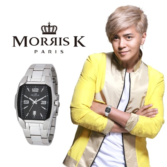 【Morris K】魅力無限不鏽鋼流行腕錶-黑x銀/42mm MK10095-CJ20
