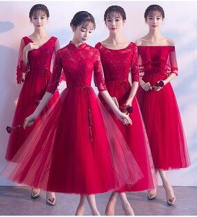 天使嫁衣【BL1218C】酒紅色典雅蕾絲綁帶收腰4款中長禮服˙預購訂製款