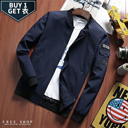 Free Shop:FreeShop送T恤休閒素面手臂口袋MA-1棒球飛行夾克外套有大尺碼黑色深藍色軍綠色【QTJK786】