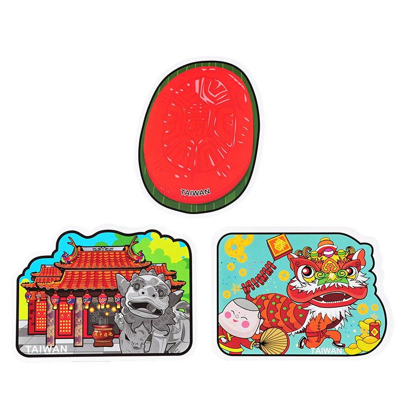 【MILU DESIGN】+PostCard>>台灣集遊明信片三入組C-臺灣民俗信仰。廟、舞獅、紅龜粿