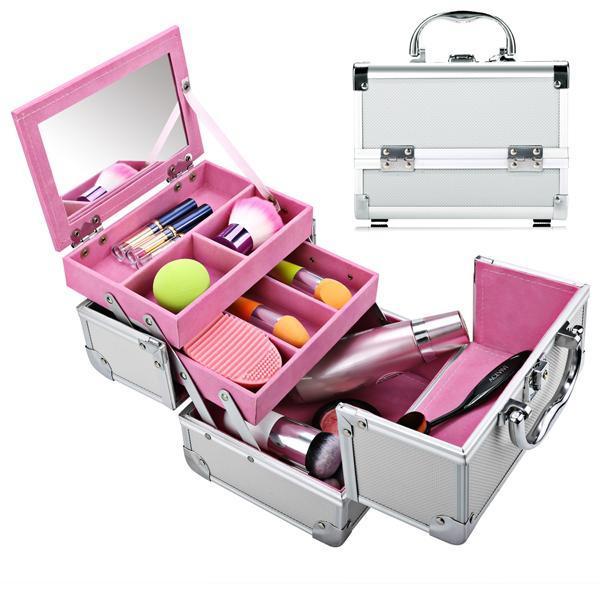 Mini Portable Aluminum Cosmetic Box + Mirror + 2 Keys 0