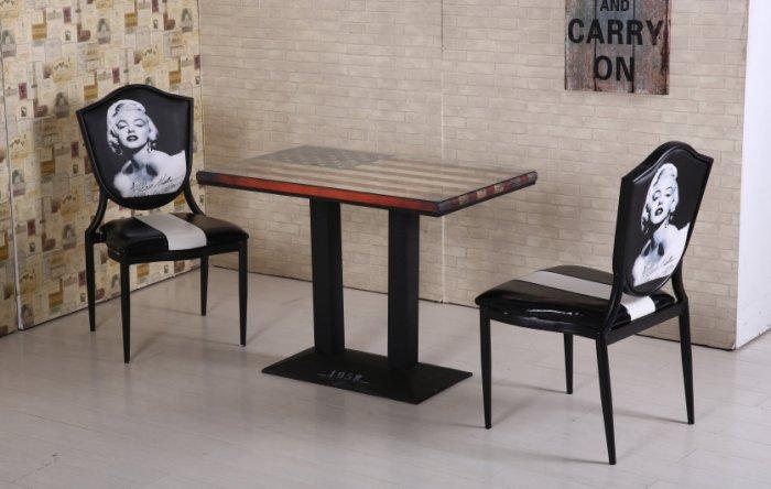 【尚品傢俱】JF-427-1 美國4尺長方仿舊餐桌(附玻璃)