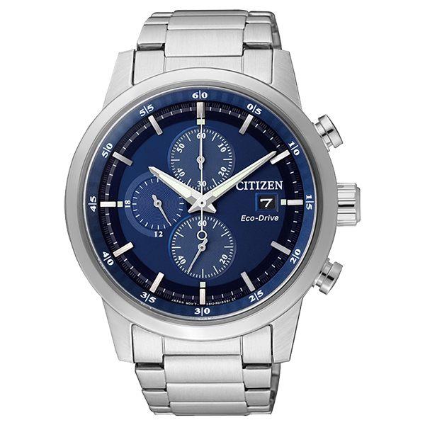 比漾廣場 BEYONDPLAZA CITIZEN 星辰Eco-Drive光動能 簡約時尚三眼計時腕錶-藍/ 43mm CA0610-52L