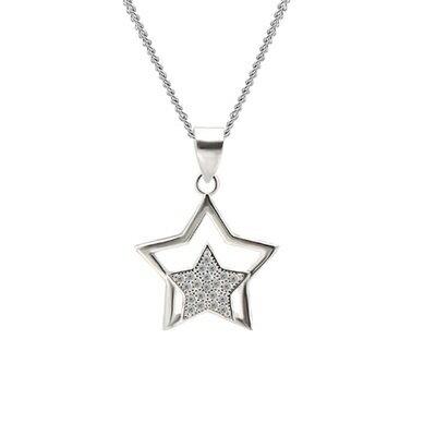 925純銀項鍊 鑲鑽吊墜~ 耀眼星星母親節情人節生日 女飾品73dk371~ ~~米蘭 ~