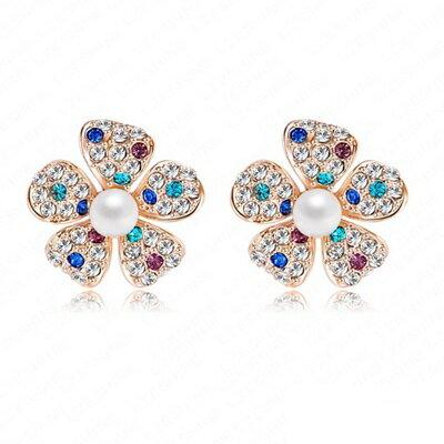 玫瑰金耳環 珍珠純銀耳飾~花朵 氣質可愛七夕情人節生日 女飾品73bj74~ ~~米蘭 ~