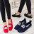 格子舖*【AS8107】韓版街頭簡約素面 PUSH圖案標籤 休閒鋸齒底懶人鞋包鞋 帆布鞋 3色 0