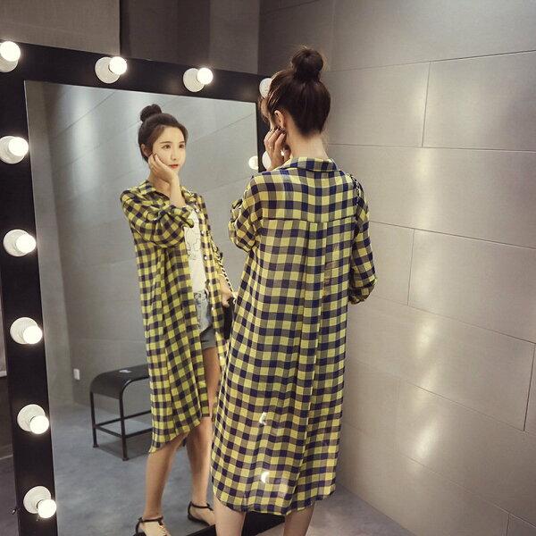 FINDSENSEG5韓國時尚中長款格子襯衫長袖薄款外套雪紡衫防曬衣