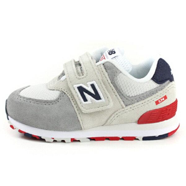 Shoestw【IV574UJD】NEW BALANCE NB574 運動鞋 黏帶 小童鞋 Wide 灰藍紅 0