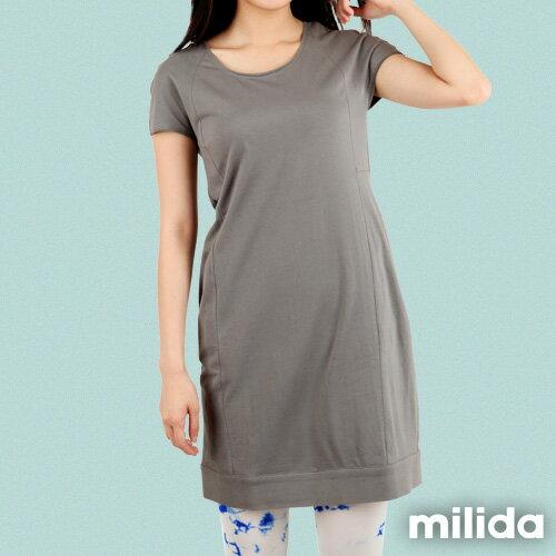 【Milida,全店七折免運】-早春商品-素色款-簡約休閒口袋洋裝 4