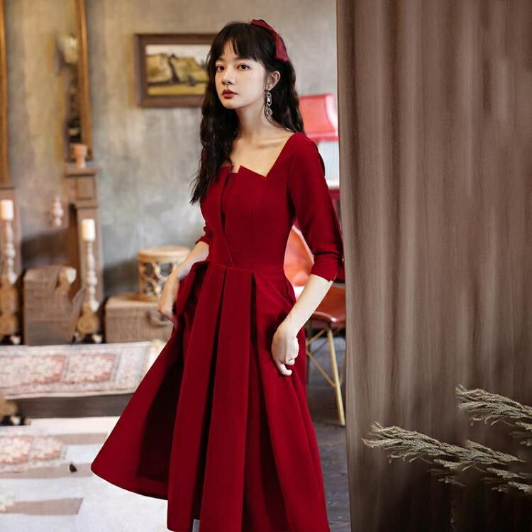 婚紗禮服 敬酒服新娘2020新款秋季平時可穿酒紅色絲絨結婚小禮服洋裝回門