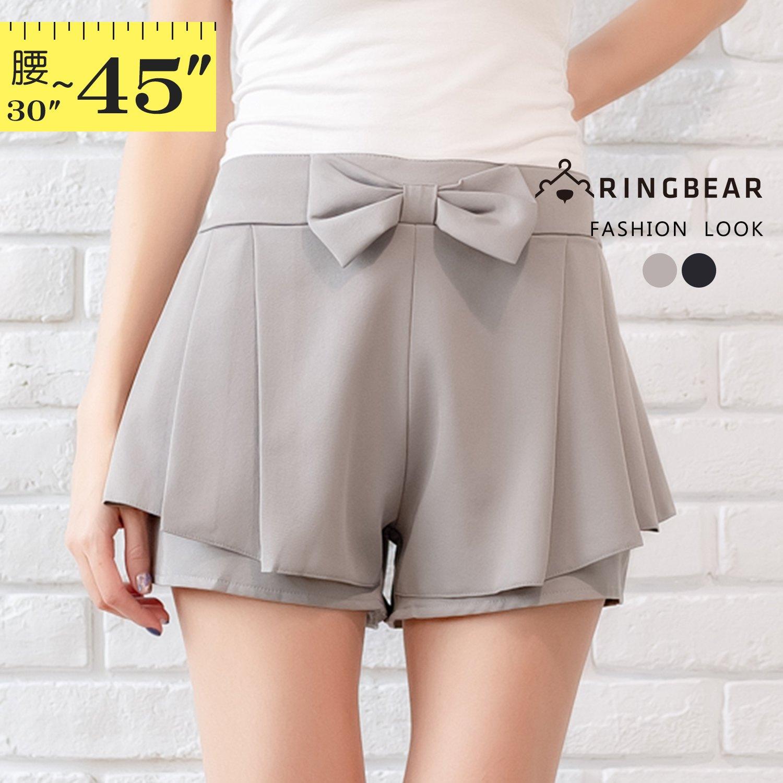 褲裙--甜美女孩活潑俏皮大蝴蝶結後褲頭抽皺鬆緊設計褲裙(黑.灰XL-5L)-R176眼圈熊中大尺碼 1