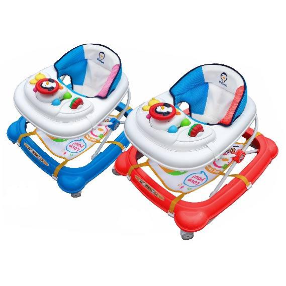 【奇買親子購物網】PUKU 藍色企鵝 歐規新駕駛盤造型學步車(紅/水藍)