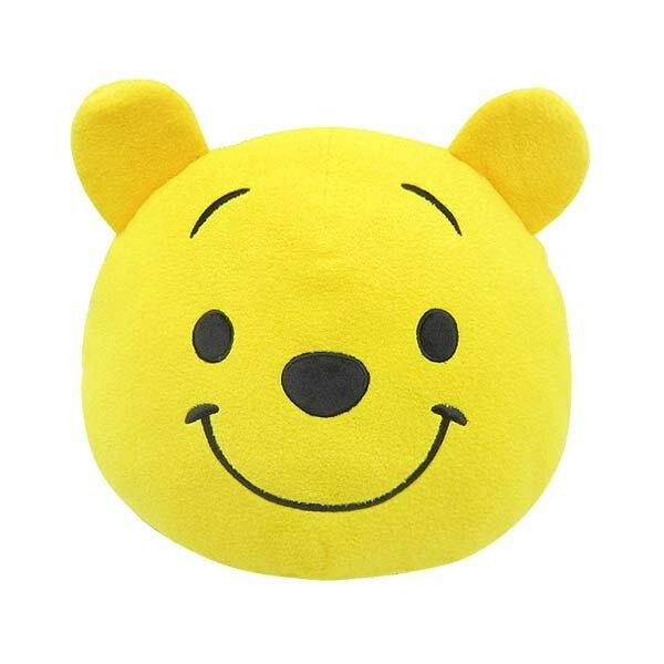【日本進口正版】小熊維尼 Winnie the Pooh 大頭造型 玩偶 抱枕 靠墊 Disney 迪士尼 - 098399