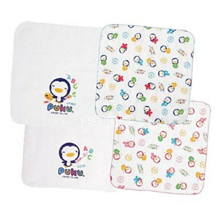 PUKU 印花/素色紗布手帕(2入)30*30cm --白/印花藍/印花粉