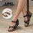 格子舖*【KT5609】MIT台灣製 經典黑白皮革兩色 金屬釦環設計 6CM楔型休閒鞋 交叉套指涼鞋 2色 - 限時優惠好康折扣