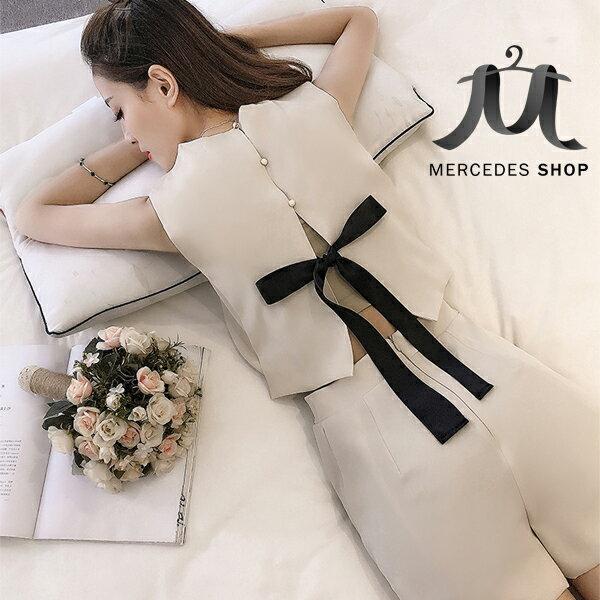 梅西蒂絲Mercedes Shop:《現貨出清5折》韓國連線蝴蝶結背心+純色短褲無袖套裝(S-2XL,2色)-梅西蒂絲(現貨+預購)