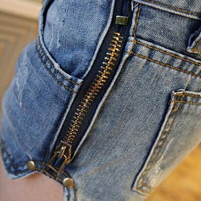 短褲 - 雙側拉鏈抓破牛仔短褲【23272】藍色巴黎 - 現貨商品 1