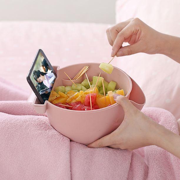 懶人追劇 果盤 零食收納盒 瀝水籃 廚房客廳塑料水果盤  ~Z90267~