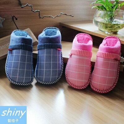 【X008】shiny藍格子-溫暖時尚.冬季男女格子拼接毛絨保暖厚底居家室內拖鞋