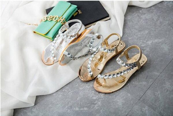 Pyf♥女神風大水鑽夾腳金屬色鬆緊帶楔型海灘涼鞋42大尺碼女鞋