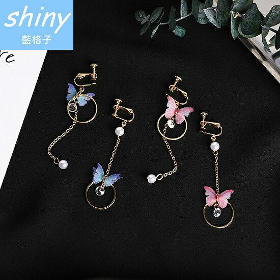 【DJA6401】shiny藍格子-珍珠圓環元素蝴蝶耳夾/耳環★7  1-7  3  599折50★