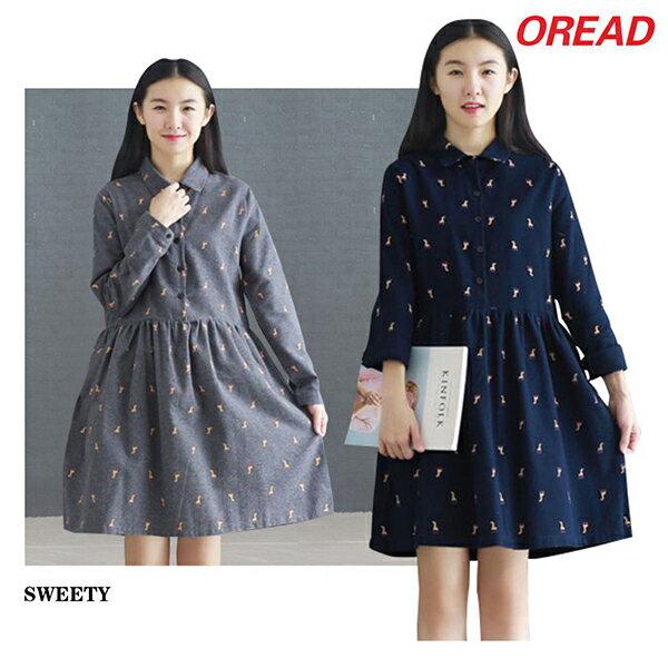 長頸鹿印花連身裙(2色M~2XL) 【OREAD】 0