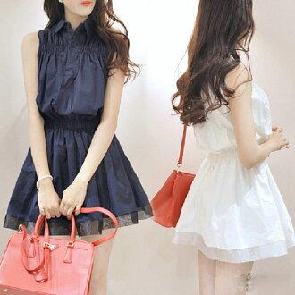 PS Mall 韓版 無袖襯衫高腰連身裙 傘狀背心裙 洋裝 蓬蓬裙【T5826】