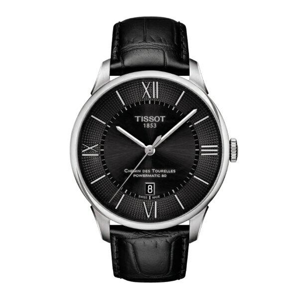 TISSOT天梭T0994071605800杜魯爾羅馬經典80機械腕錶黑面42mm