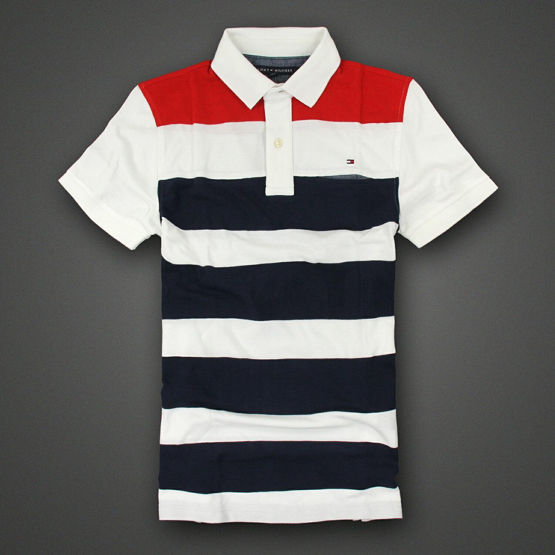 <br/><br/>  美國百分百【Tommy Hilfiger】Polo衫 TH 短袖 上衣 條紋 網眼 白色 深藍 紅色 XS號 F272<br/><br/>