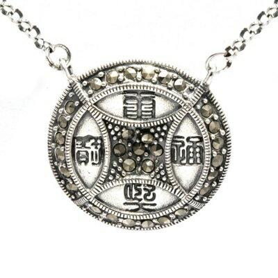 925純銀項鍊 銅錢泰銀吊墜~ 復古簡單大方情人節生日 女飾品73dg13~ ~~米蘭 ~