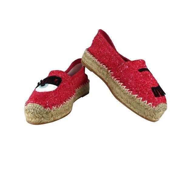【CHIARA FERRAGNI】眼睛草編鉛筆鞋(紅色) CF904