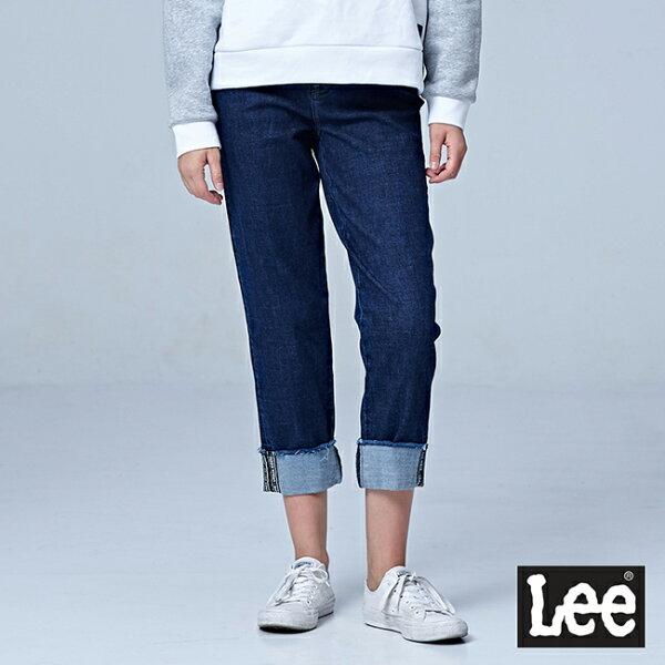 Lee411高腰標準合身小直筒牛仔褲UR-中深藍色