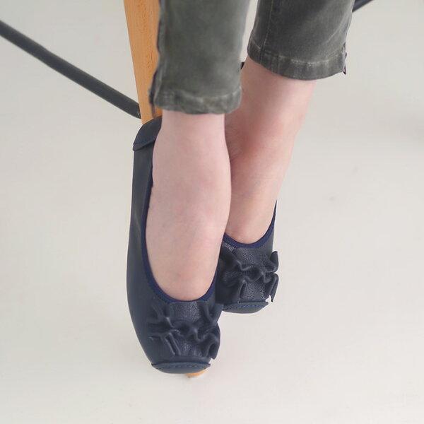 懶人鞋休閒鞋藍女鞋真皮平底鞋【SV9661】HappyLife