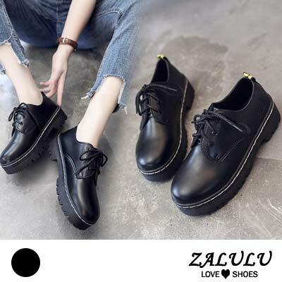 ZALULU愛鞋館 IE094 大方時尚款素色圓頭綁帶平厚底鞋-黑-偏小-36-40