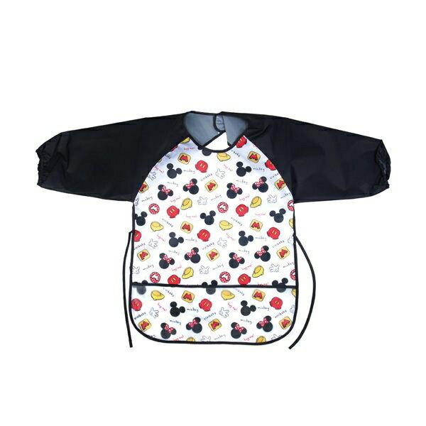 迪士尼 米奇米妮長袖防水圍兜/兒童畫畫衣 (黑)
