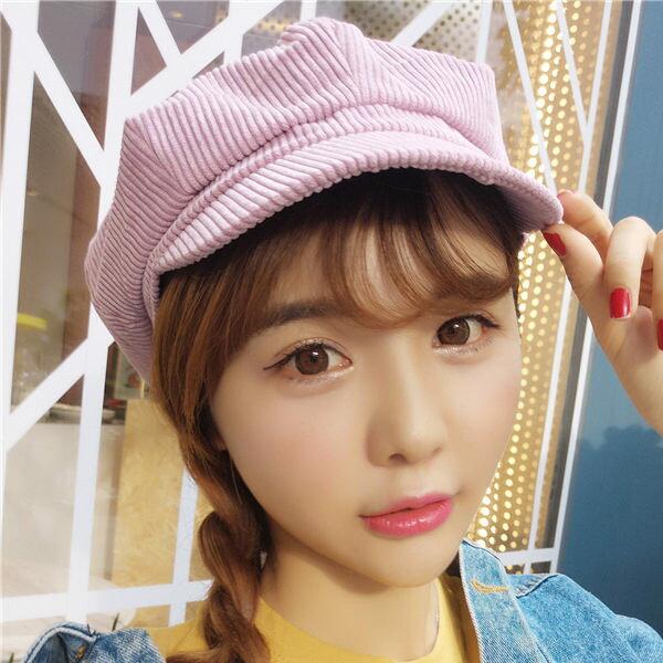 PS Mall 學院風男女燈芯絨八角帽【G052】 - 限時優惠好康折扣