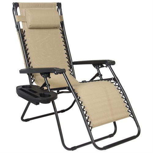 Ordinaire Folding Zero Gravity Recliner Lounge Chair With Canopy Shade U0026 Magazine Cup  Holder (Tan)