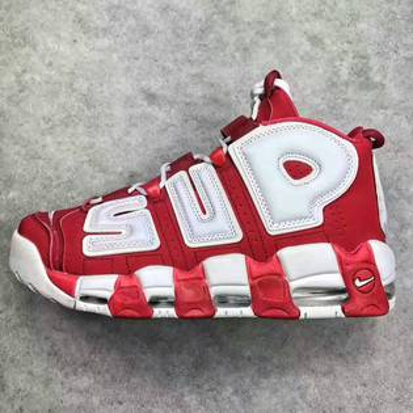 Supreme x Nike Air More Uptempo 聯名大AIR皮蓬 紅白   情侶款