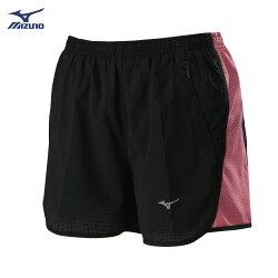 J2TB825896(黑X粉橘紅)股下7cm 微彈性透氣網布 內裏褲設計 女路跑褲 【美津濃MIZUNO】