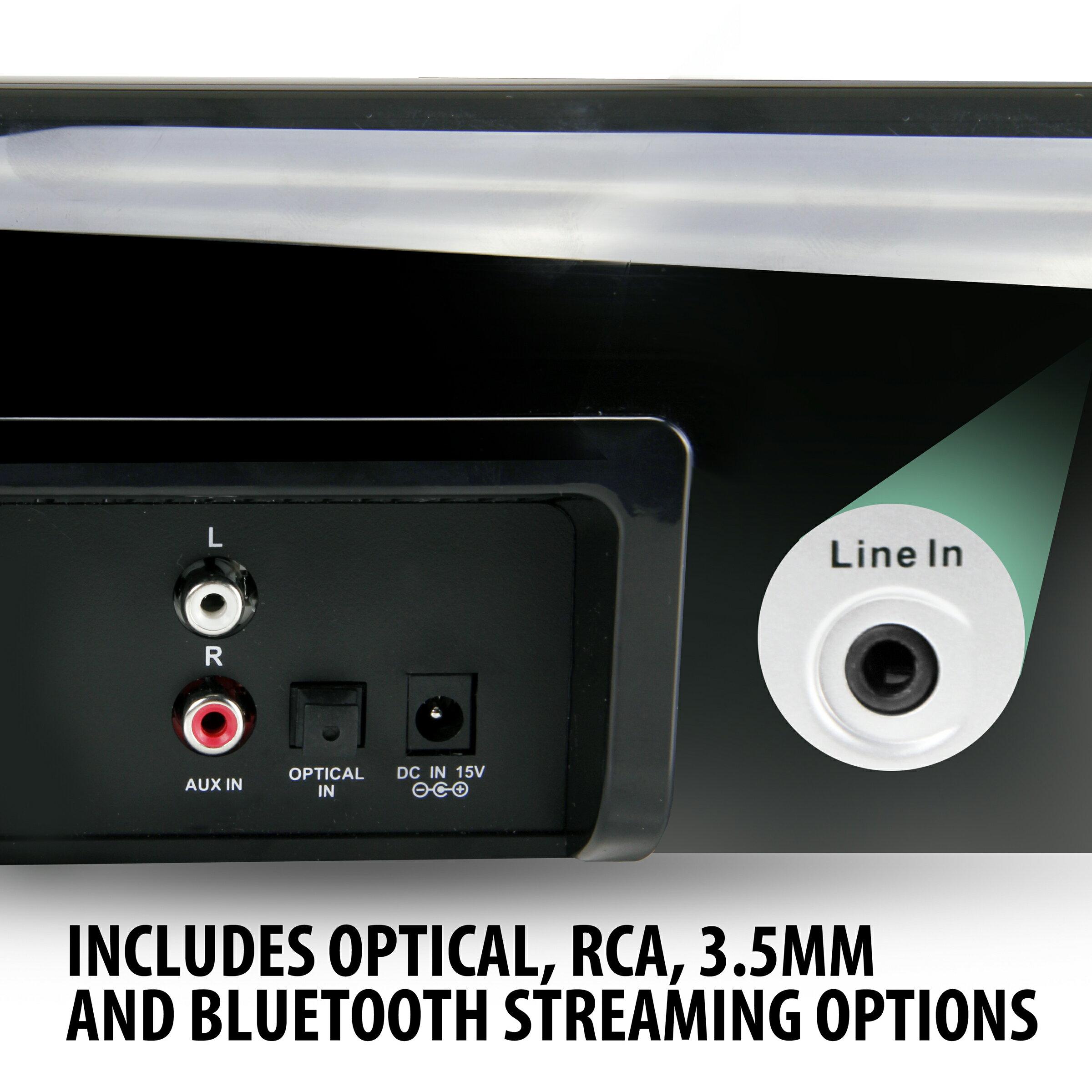 GOgroove Bluetooth Ultra Slim Sound Bar Speaker System w/ Wall Mounting Kit, Optical / Analog Inputs 5