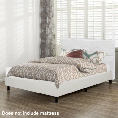 New Platform Bed Frame Upholstered White Leather Slats Headboard Bedroom Queen 3