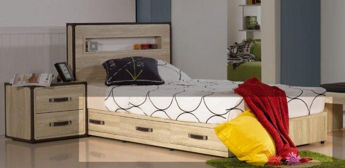 【尚品傢俱】JF-562-5 溫蒂3.5尺橡木紋單人三抽床底