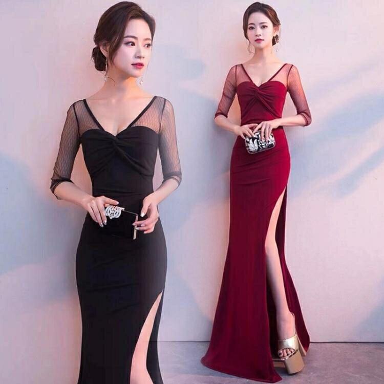宴會禮服 宴會晚禮服2021新款平時可穿伴娘服年會主持人高端氣質優雅連身裙 摩可美家